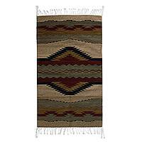 Zapotec wool rug, 'Oaxaca Reflection' (2.5x5) - Zapotec wool rug (2.5x5)