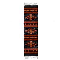 Zapotec wool rug, 'Night Sky' (1.5x5) - Zapotec wool rug (1.5x5)
