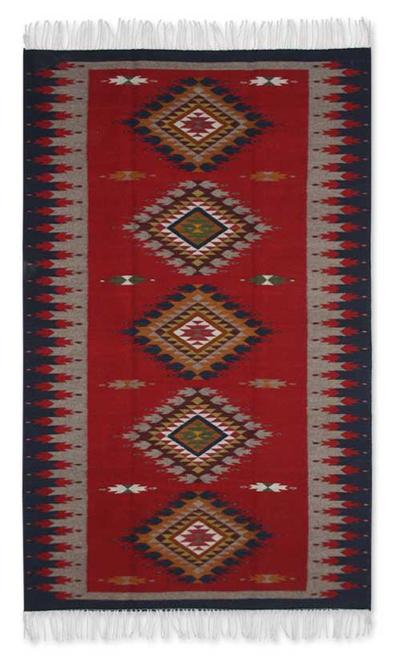 Zapotec Wool Rug 4x6 5 Red Diamond Path Novica