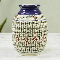 Ceramic vase, 'Golden Constellation' - Decorative Ceramic Vase Hand Made Floral Motifs from Mexico