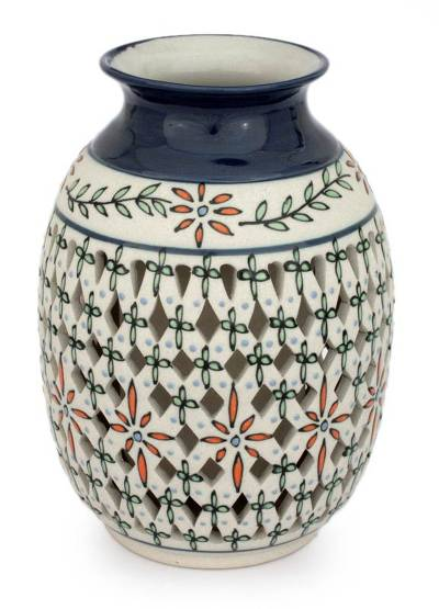 Decorative Ceramic Vase Hand Made Floral Motifs from Mexico