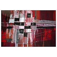 'Stained Glass Windows' - Red Black White Abstract Painting