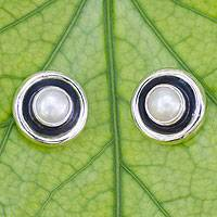 Pearl button earrings, 'Magic' - Hand Crafted Taxco Silver Button Earrings with Pearls