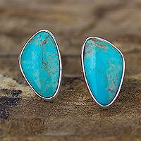 Turquoise button earrings, 'Allure' - Modern Fine Silver Button Earrings with Natural Turquoise