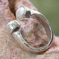 Pearl wrap ring, 'Encounter' - Hand Made Taxco Silver and Pearl Ring