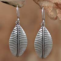 Silver dangle earrings, 'Lush Foliage' - Fair Trade Fine Silver Leaf Earrings