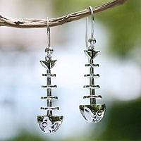 Sterling silver dangle earrings, Skeleton Fish