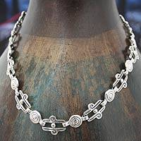 Sterling silver link necklace, 'Aztec Royalty' - Taxco Silver Link Necklace Mexico