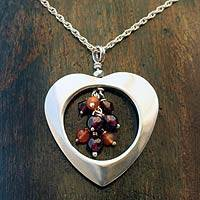 Garnet and carnelian heart necklace,