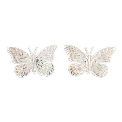 Fair Trade Taxco Silver Button Earrings