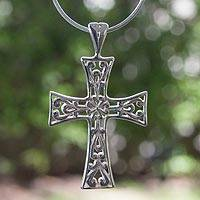 Sterling silver cross necklace, 'Floral Faith'