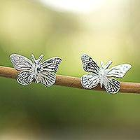 Sterling silver button earrings, 'Monarch Butterfly' (medium) - Unique Sterling Silver Button Earrings from Mexico