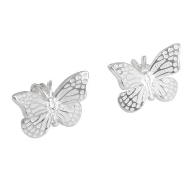 Unique Sterling Silver Button Earrings from Mexico