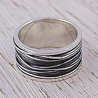 Men's sterling silver band ring, 'Mezcala River'