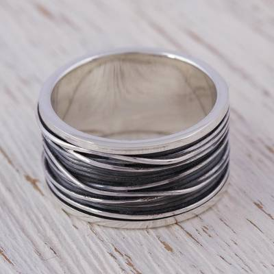 Mens sterling silver band ring, Mezcala River