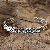 Sterling silver cuff bracelet, 'Aztec Goddess' - Sterling Silver Cuff Bracelet from Mexico