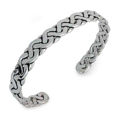 Handcrafted Modern Braided Sterling Silver Cuff Bracelet