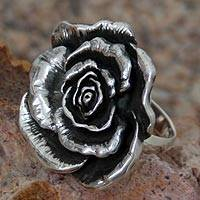 Sterling silver flower ring, 'Taxco Rose' - Sterling silver flower ring