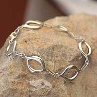 Sterling silver link bracelet, 'Infinite Harmony'
