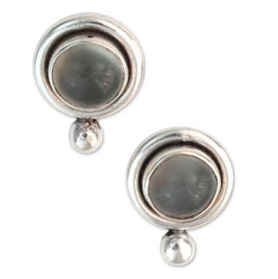 Moonstone button earrings