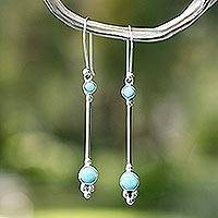 Turquoise dangle earrings, 'Friendship Sparkles' - Natural Turquoise and Silver Dangle Earrings from Mexico