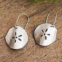 Sterling silver flower earrings, 'Fossil Flower' - Handcrafted Mexican Taxco Silver Sea Life Earrings
