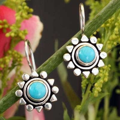 Turquoise drop earrings, 'Aztec Star' - Fair Trade Sterling Silver Natural Turquoise Earrings