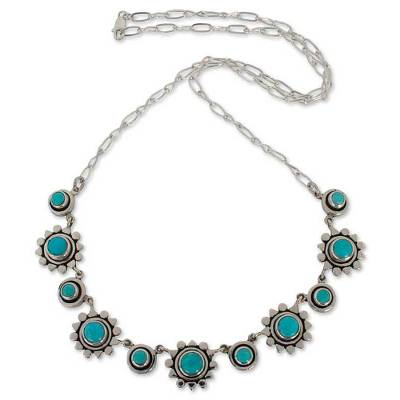 Handmade Floral Sterling Silver Natural Turquoise Necklace