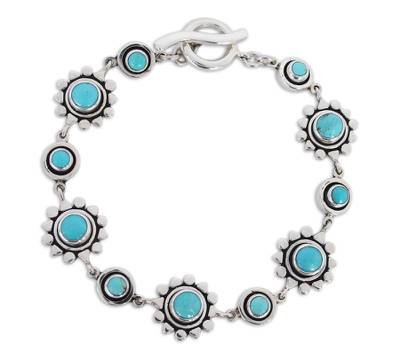 Artisan Crafted Silver and Natural Turquoise Bracelet