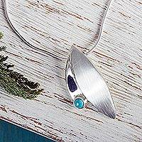 Turquoise pendant necklace, 'Taxco Flora' - Unique Silver and Turquoise Necklace from Mexico