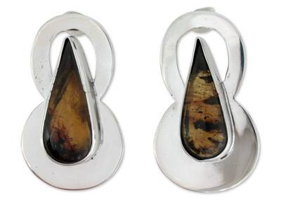 Artisan Crafted Amber and Silver Button Earrings