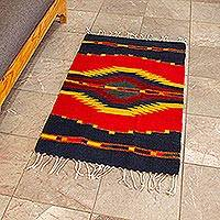 Zapotec wool rug, 'Reflections' (2x3.5) - Handcrafted Zapotec Red and Blue Area Rug (2x3.5)