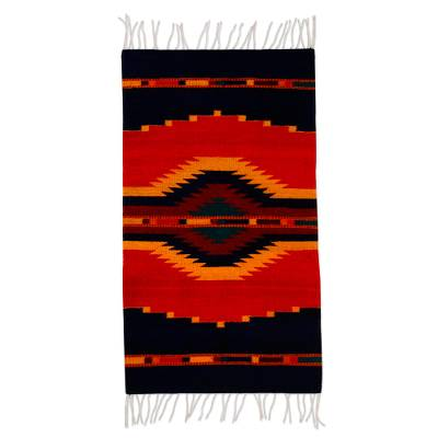 Handcrafted zapotec red and blue area rug 2x3 5 for Red and blue area rug