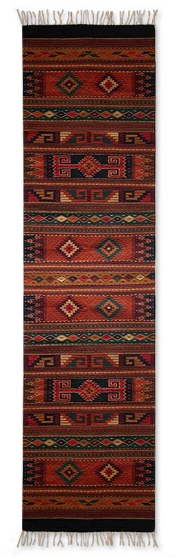 Zapotec wool rug, 'Glorious' (2.5x10) - Handmade Zapotec Area Rug with Geometric Motifs (2.5x10)