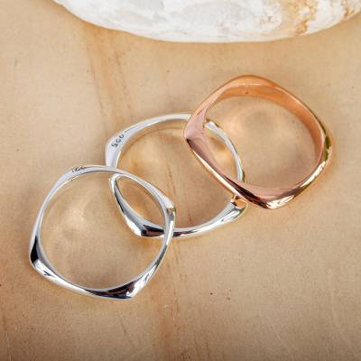 Sterling silver and copper band rings, 'Taxco Destiny' (set of 3) - Handcrafted Copper Sterling Silver Stacking Rings (Set of 3)