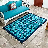 Zapotec wool rug, 'Seashells' (4x6.5) - Zapotec wool rug (4x6.5)