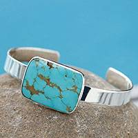 Turquoise cuff bracelet, 'Caribbean Mosaic' - Taxco Silver Sterling Cuff Bracelet with Natural Turquoise