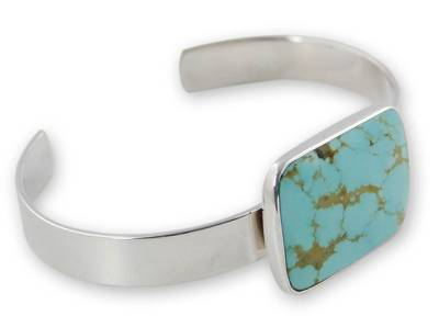 Taxco Silver Sterling Cuff Bracelet with Natural Turquoise