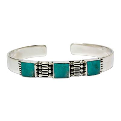 Unique Taxco Sterling Silver and Natural Turquoise Cuff Bracelet