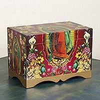 Decoupage box, 'Beautiful Virgin of Guadalupe' - Unique Christianity Wood Decorative Box