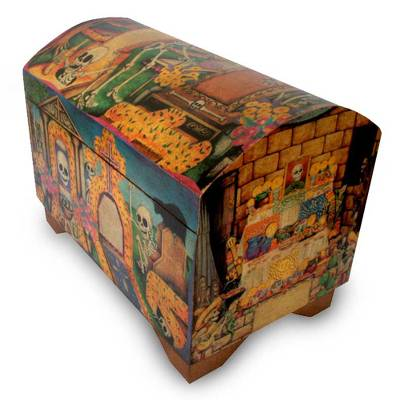 Decoupage chest, 'Day of the Dead' - Decoupage chest