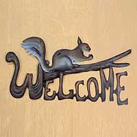 Steel welcome sign, 'Busy Squirrel' - Steel Welcome Sign Outdoor Living