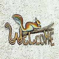 Steel welcome sign,