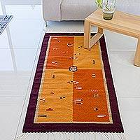 Zapotec wool rug, 'Zapotec Games' (2.5x5) - Authentic Handmade Zapotec Wool Area Rug (2.5x5)