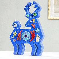 Wood display jigsaw puzzle Huichol Blue Deer Mexico