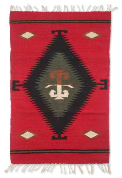 Zapotec wool rug, 'Fire Walk' (2x3.5) - Zapotec Artisan Crafted Small Red Wool Rug (2x3.5)