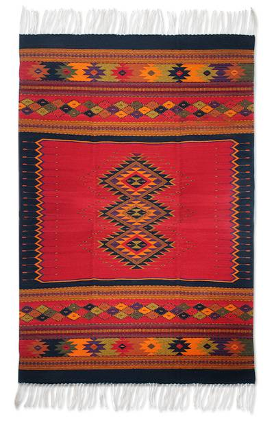 Zapotec wool rug, 'Spirit Vision' (4x6.5) - Red Zapotec Wool Red Area Rug (4x6.5)