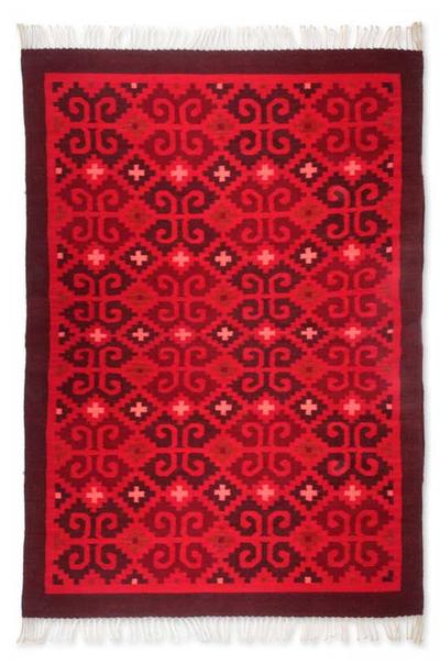 Zapotec Wool Rug 4 5x6 5 Scarlet Seashells Novica