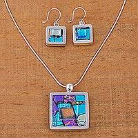 Art glass jewelry set, 'Spring Abstract' - Art glass jewelry set