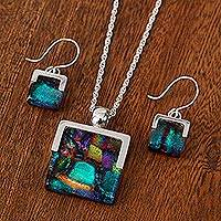 Art glass jewelry set, 'Magic Mosaic'